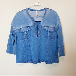 "Free People Denim ""ratio split"" Top Small"